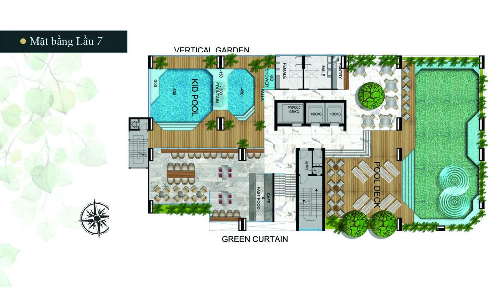 mặt bằng tầng 7 tiện ích chung cư park legend hoàng văn thụ