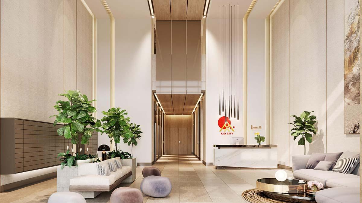 sảnh tầng căn hộ aio city bình tân