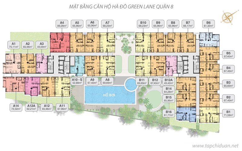 Mặt bằng căn hộ hà đô green lane quận 8