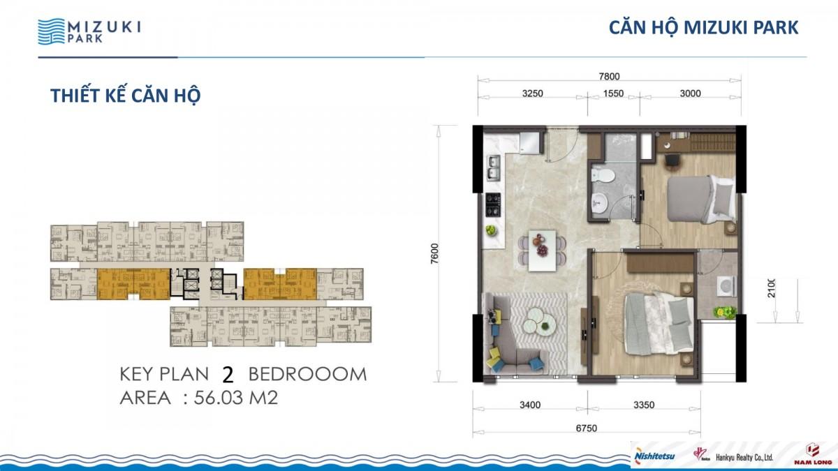 Căn hộ 2 phòng ngủ dự án mizuki park