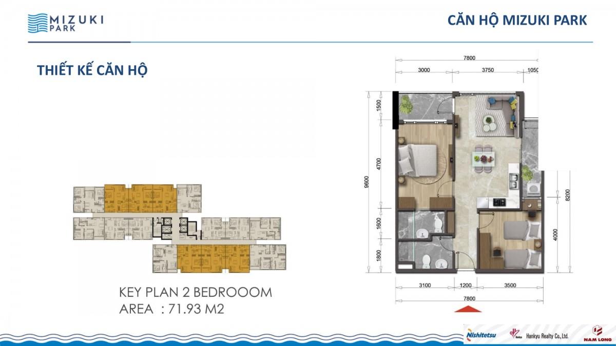 căn hộ 2 phòng ngủ dự án mizuki park nam long