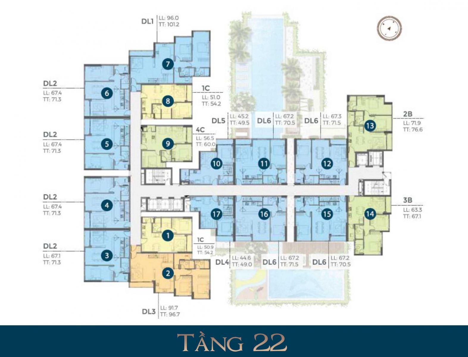 Mặt bằng tầng 22 dự án căn precia Quận 2