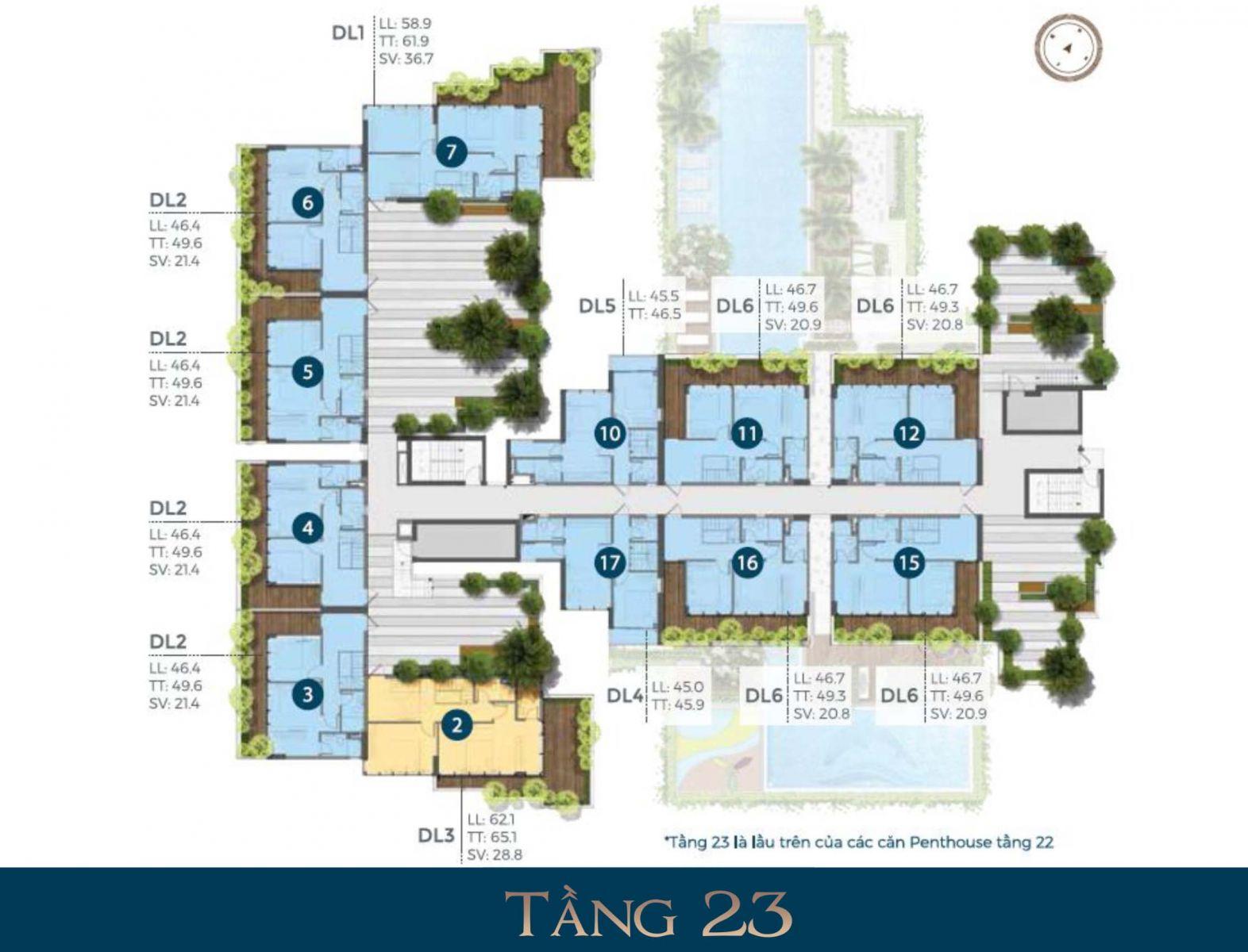 Mặt bằng tầng 23 dự án căn precia Quận 2