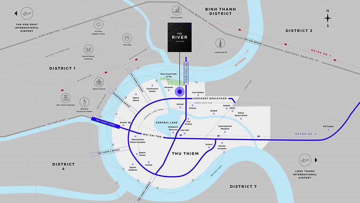 vị trí căn hộ the river thu thiem quận 2