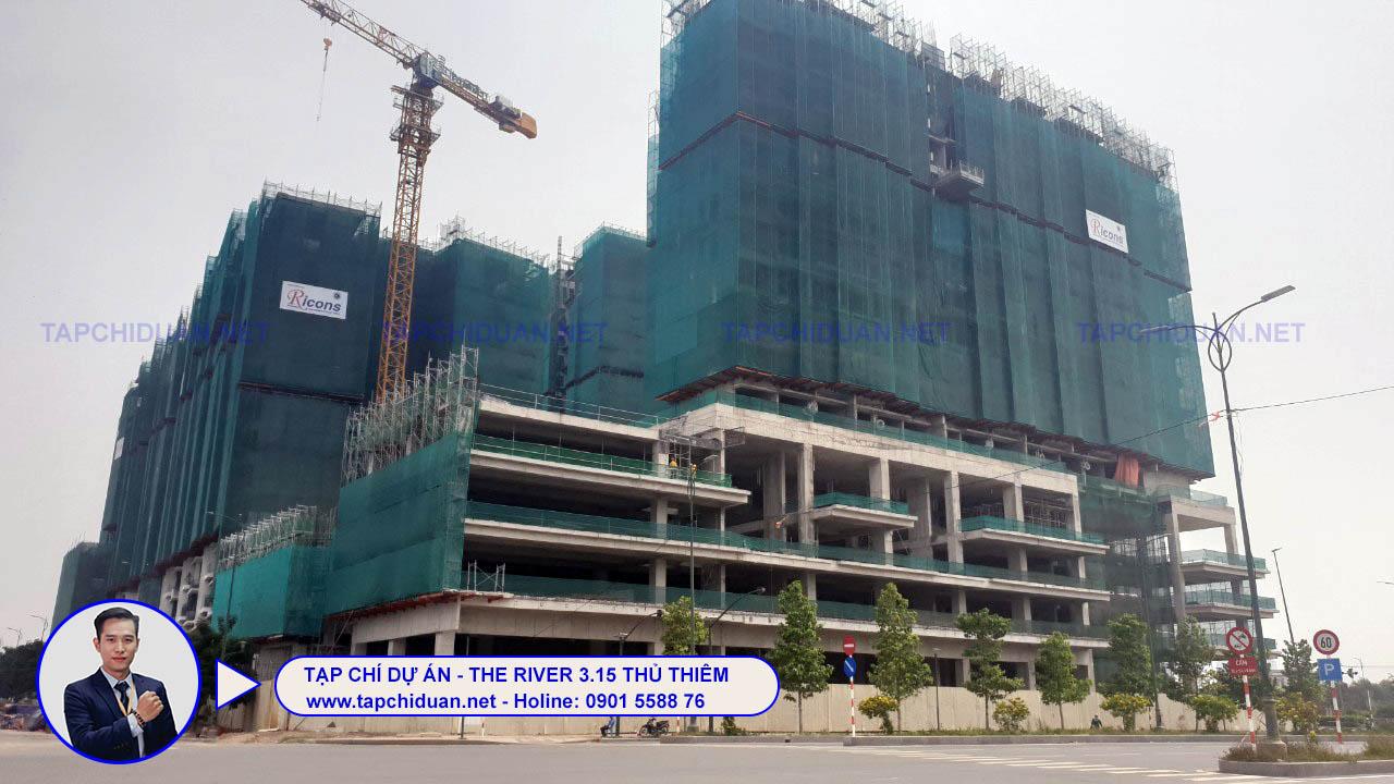 hình ảnh tiến độ xây dựng the river thủ thiêm tháng 5 năm 2021