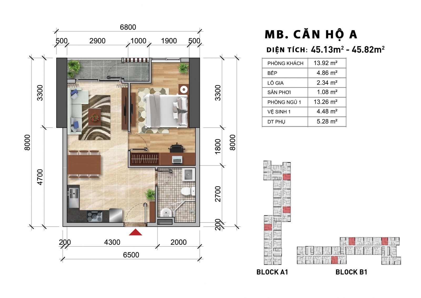 căn hộ 1 phòng ngủ dự án charmington iris quận 4