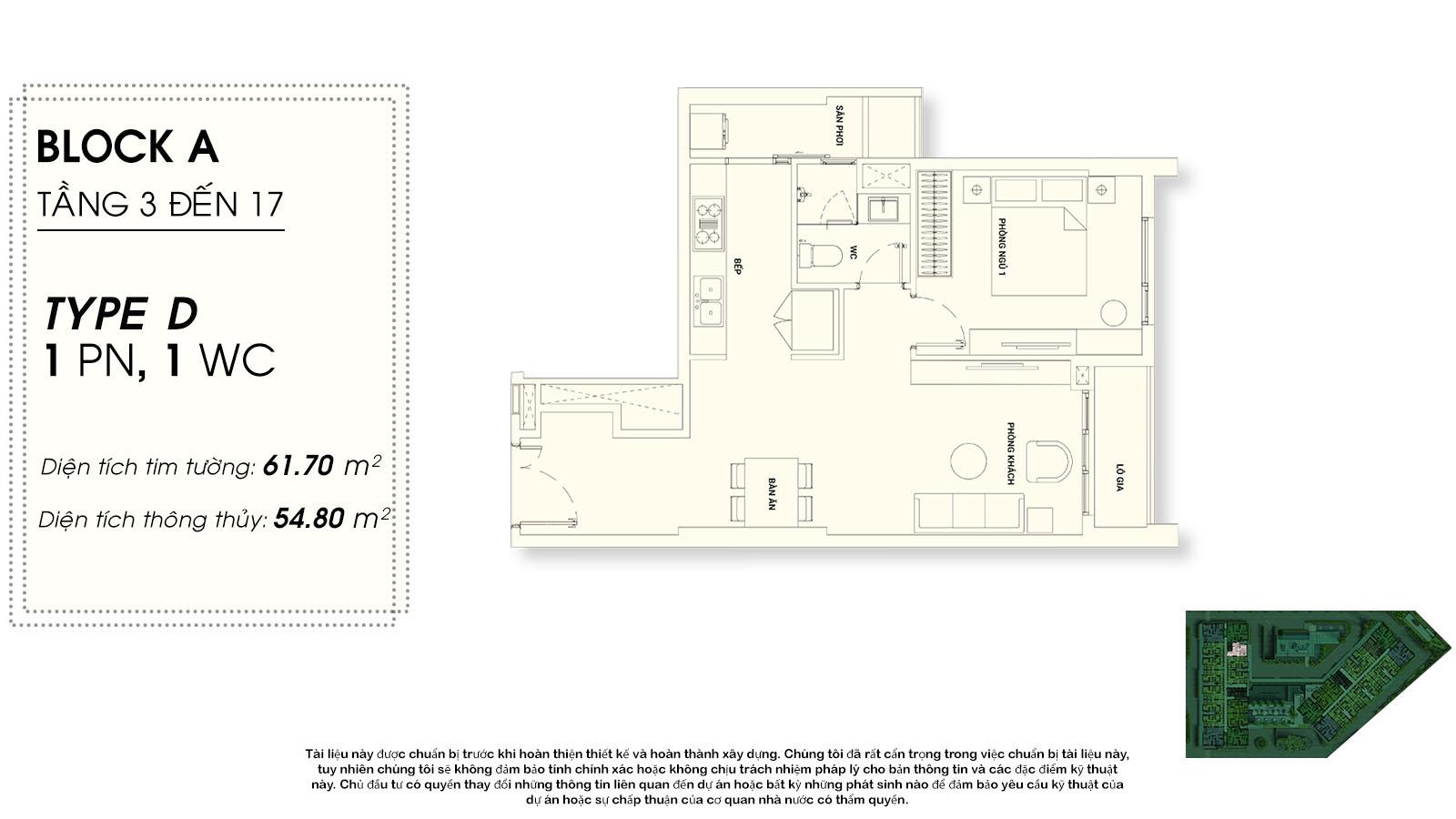thiết kế căn hộ chung cư Asiana riverside Quận 7  - 1 phòng ngủ