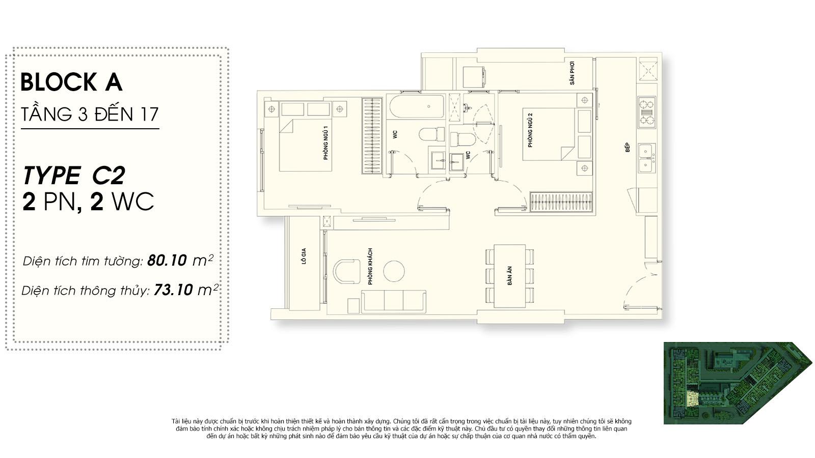 thiết kế căn hộ chung cư Asiana riverside Quận 7  - 2 phòng ngủ - 2 Wc