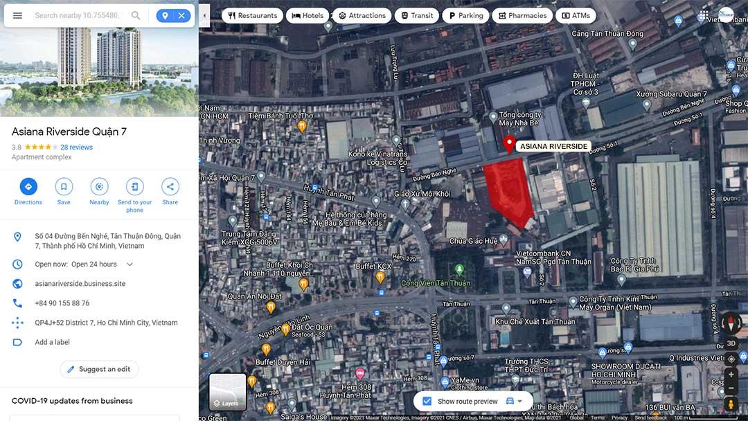 Vị trí chiến lược dự án căn hộ Asiana Riverside Quận 7