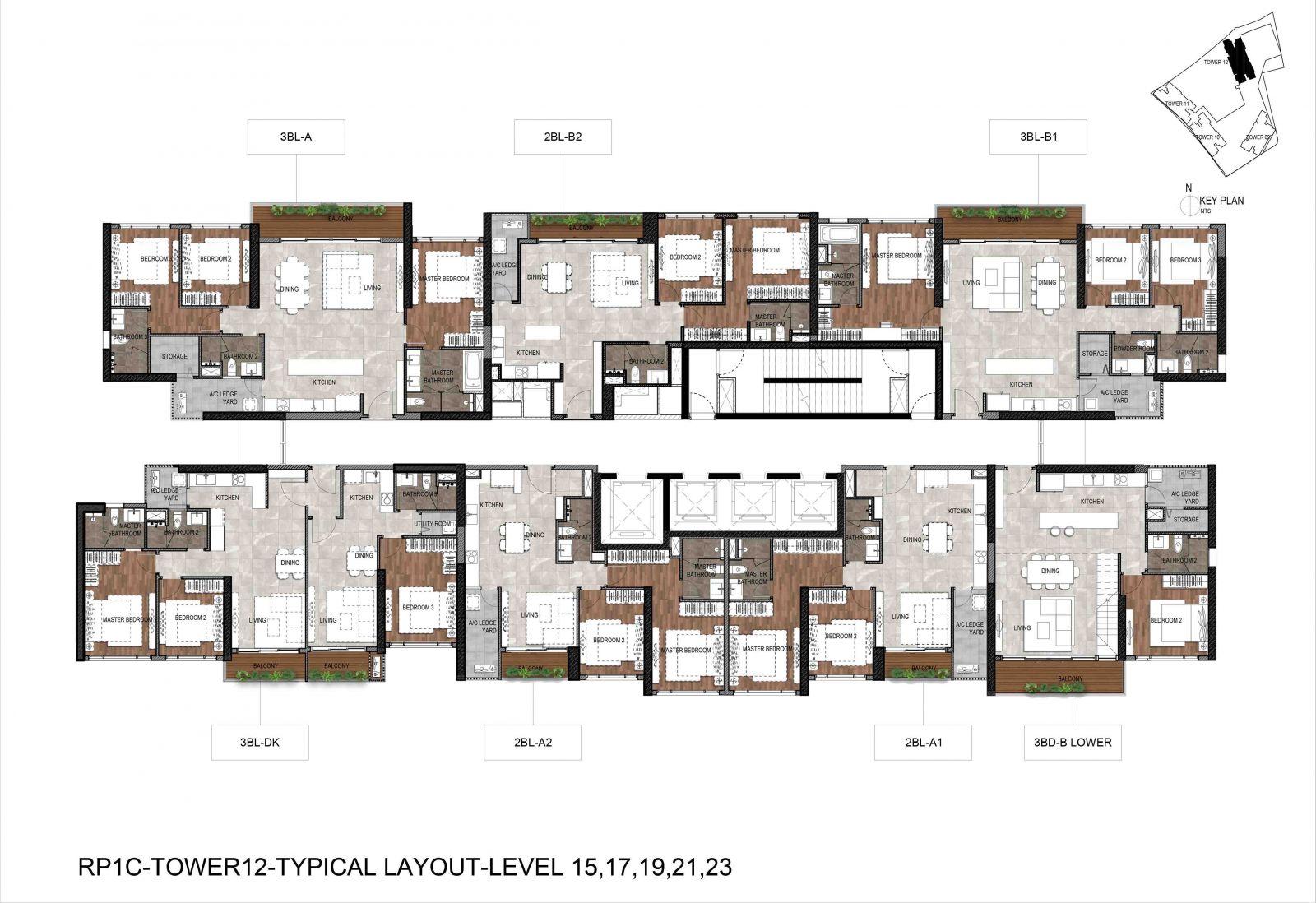 Mặt bằng tháp T12 căn hộ infiniti Quận 7