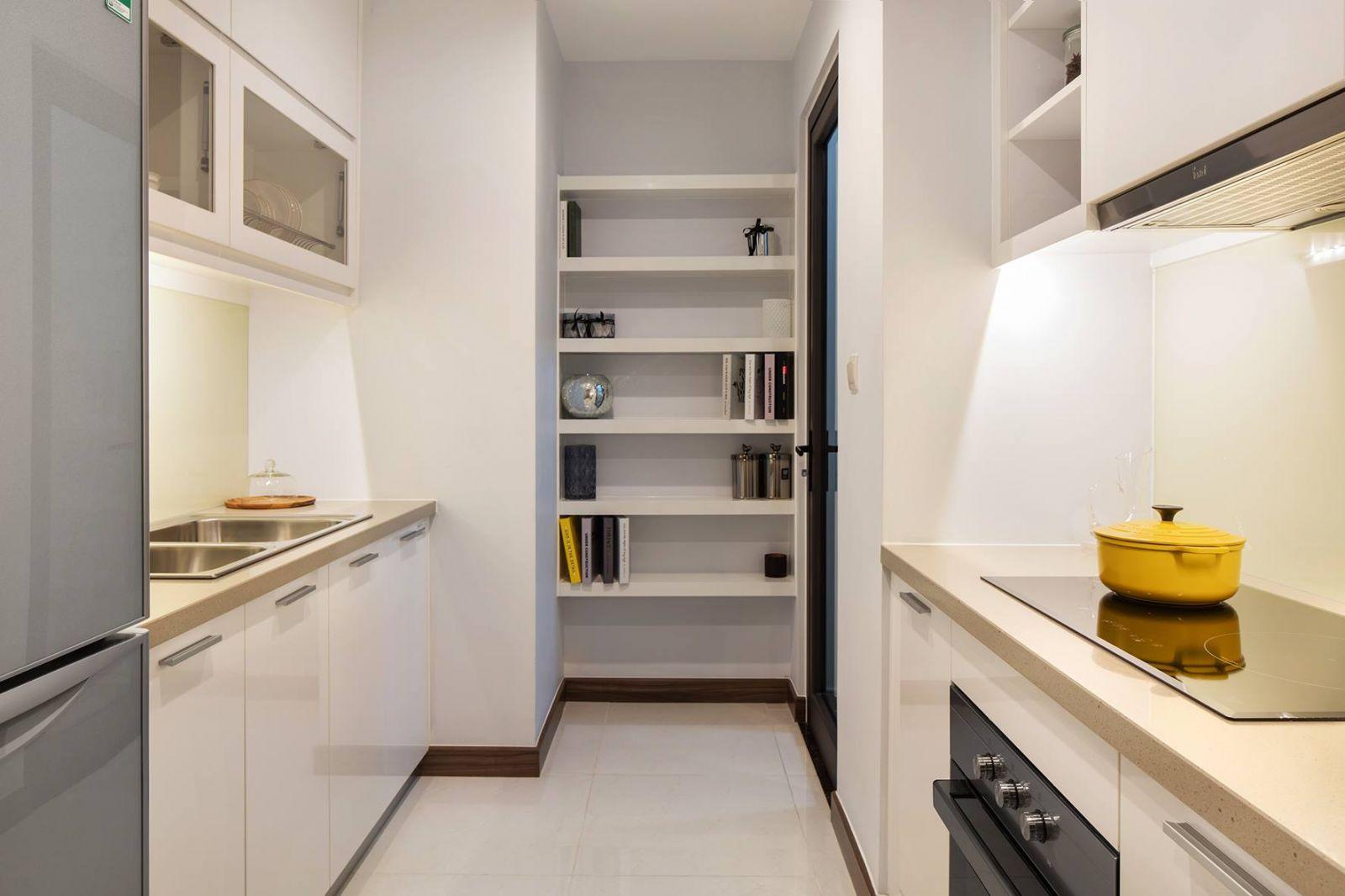 Khu vực bếp được thiết kế hiện đại tại Hado Green Lane Quận 8