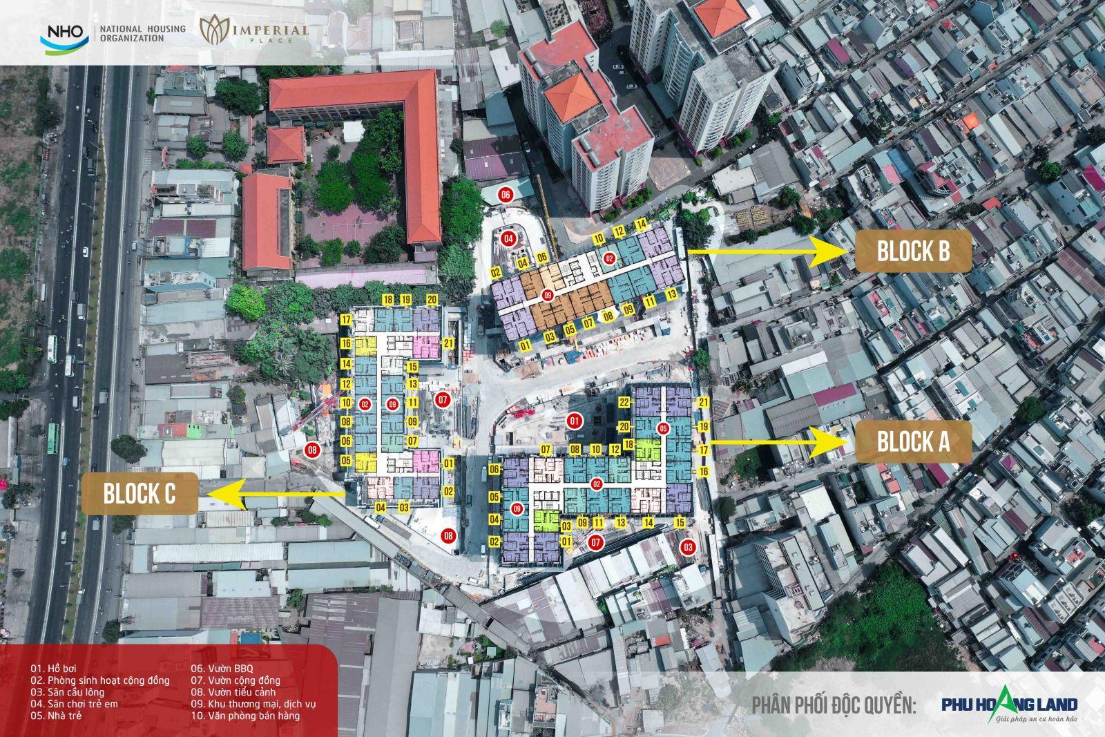 Mặt bằng tâng trệt dự án căn hộ imperial place