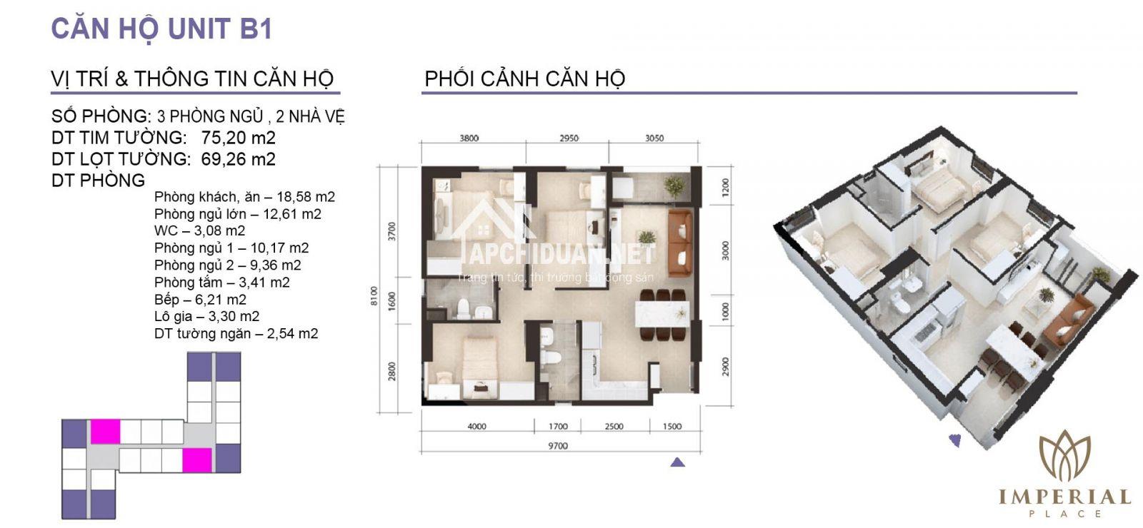 thiết kế căn hộ imperial place bình tân căn 2 phòng ngủ