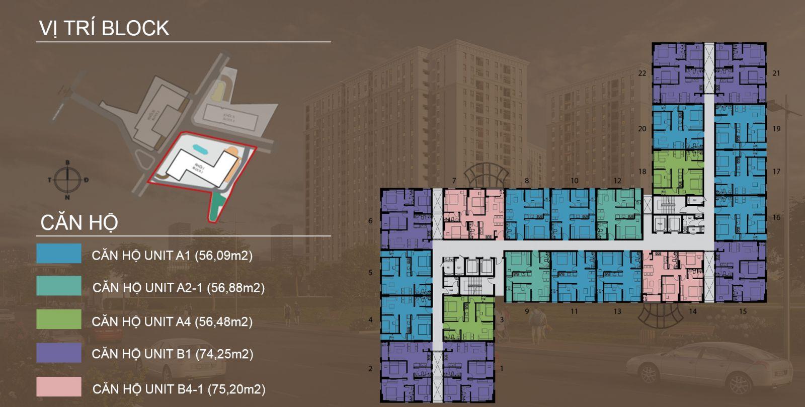 Mặt bằng tầng hiển hình block A dự án căn hộ Imperial place