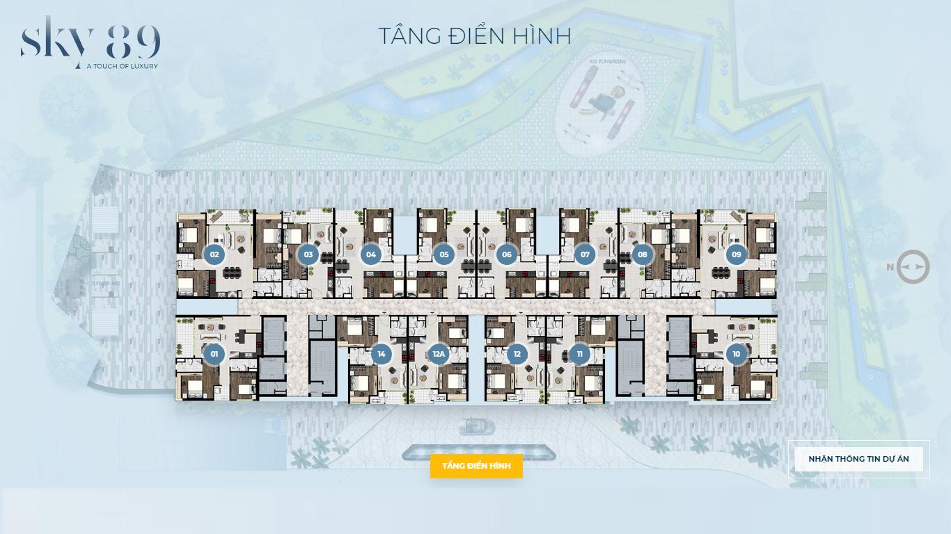Mặt bằng tầng điển hình căn hộ sky 89 quận 7