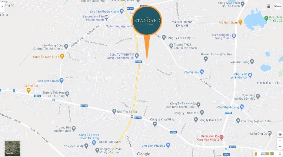 vị trí dự án the Standard trên googlemap