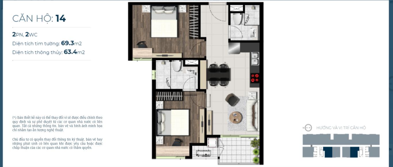 thiết kế căn hộ 2 phòng ngủ dự án sky 89 Quận 7