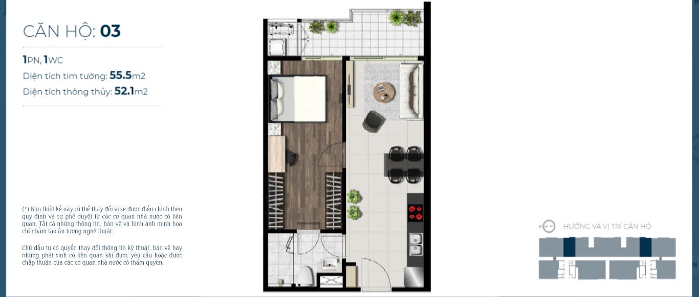 Mặt bằng căn hộ 1 phòng ngủ dự án sky 89 Quận 7