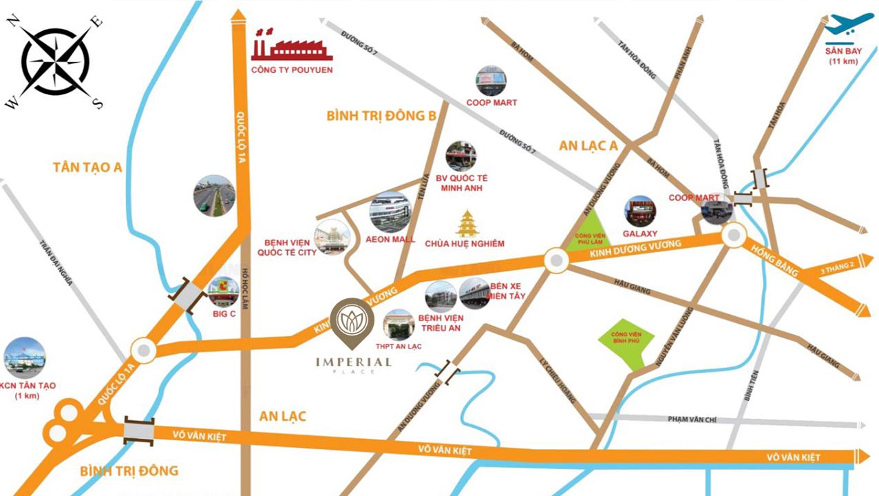 Kết quả hình ảnh cho bản đồ dự án căn hộ imperial place Bình tân